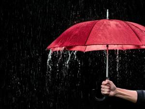 Roter Regenschirm