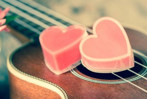 Valentines Day background with hearts and guitar.